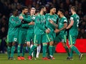 Watford players celebrate after scoring against QPR in the FA Cup on February 15, 2019