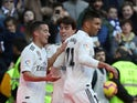 Real Madrid's Casemiro celebrates scoring against Girona in La Liga on February 17, 2019.