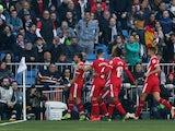 Girona celebrate scoring against Real Madrid in La Liga on February 17, 2019.