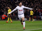 Tottenham Hotspur forward Son Heung-min celebrates scoring against Borussia Dortmund in their Champions League clash on February 13, 2019