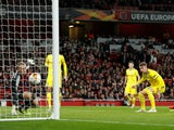 BATE Borisov's Zakhar Volkov scores an own goal versus Arsenal in the Europa League on February 21, 2019.