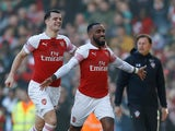 Arsenal forward Alexandre Lacazette celebrates his goal against Southampton in the Premier League on February 24, 2019
