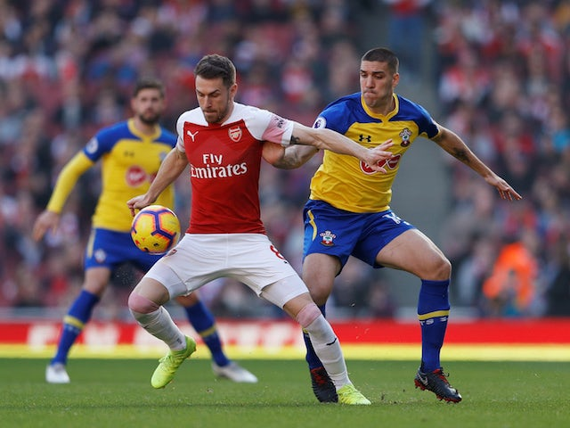Arsenal's Aaron Ramsey in action with Southampton's Oriol Romeu in the Premier League on February 24, 2019