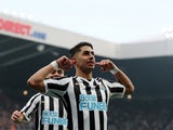 Newcastle United forward Ayoze Perez celebrates scoring against Huddersfield on February 23, 2019