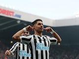 Newcastle United forward Ayoze Perez celebrates scoring against Huddersfield on February 23, 2019