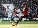 Joshua King takes a penalty during Bournemouth's Premier League clash with Wolverhampton Wanderers on February 23, 2019