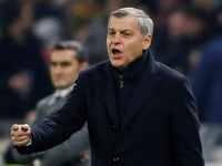Lyon coach Bruno Genesio gestures during the Champions League clash with Barcelona on February 19, 2019