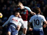 Tottenham Hotspur's Son Heung-min challenges for the ball during a Premier League clash with Burnley on February 23, 2019