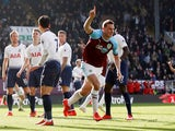 Burnley striker Chris Wood wheels away in celebration after opening the scoring against Tottenham Hotspur on February 23, 2019