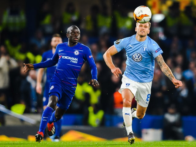 Chelsea's N'Golo Kante attempts to win possession against Malmo in the Europa League on February 21, 2019.