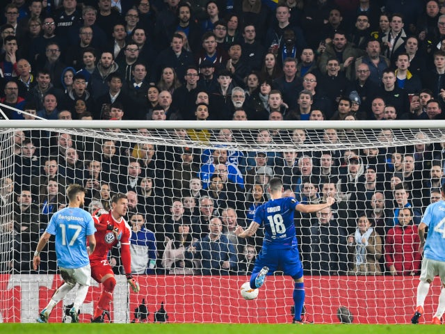 Olivier Giroud scores for Chelsea against Malmo in the Europa League on February 21, 2019.