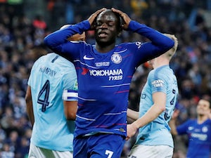 Chelsea midfielder N'Golo Kante reacts after missing a chance during the EFL Cup final against Manchester City on February 24, 2019