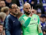 Chelsea manager Maurizio Sarri tries to bring on Willy Caballero during the EFL Cup final against Manchester City on February 24, 2019