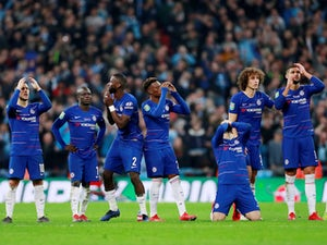 Chelsea players react to losing the penalty shootout in the EFl Cup final against Manchester City on February 24, 2019