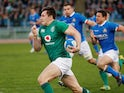 Ireland's Jacob Stockdale in action against Italy on February 24, 2019