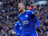 Leicester City's Jamie Vardy reacts on February 10, 2019