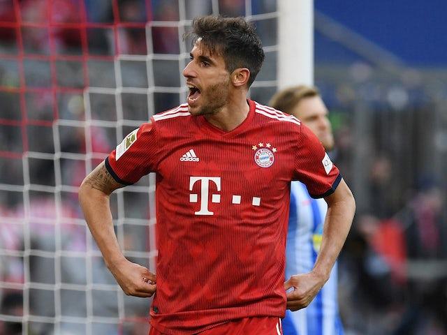 Bayern Munich's Javi Martinez celebrates scoring against Hertha Berlin on February 23, 2019