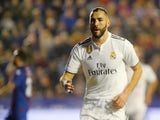 Real Madrid forward Karim Benzema celebrates his goal against Levante on February 24, 2019