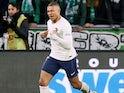 Kylian Mbappe celebrates scoring for PSG on February 17, 2019