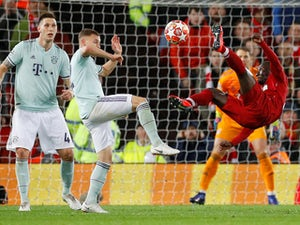 Liverpool's Naby Keita attempts a bicycle kick during the Champions League clash with Bayern Munich on February 19, 2019