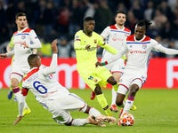 Barcelona's Ousmane Dembele in action against Lyon in their Champions League clash on February 19, 2019