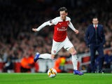 Mesut Ozil receives the  ball as Arsenal play BATE Borisov in the Europa League on February 21, 2019.