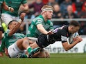 Exeter's Nic White scores their fourth try against Newcastle Falcons on February 23, 2019