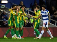 West Bromwich Albion players celebrate Jefferson Montero's opening goal against QPR on February 19, 2019