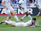 France's Romain Ntamack scores their first try against Scotland on February 23, 2019