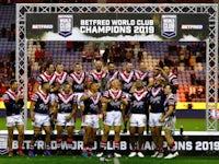 Sydney celebrate winning against Wigan Warriors on February 17, 2019
