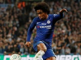Chelsea forward Willian in action during the EFL Cup final against Manchester City on February 24, 2019
