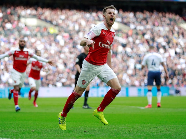 Arsenal midfielder Aaron Ramsey celebrates his opening goal in the North London derby with Tottenham Hotspur on March 2, 2019