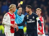 Real Madrid captain Sergio Ramos picks up a yellow card against Ajax in February 2019
