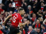Manchester United midfielder Andreas Pereira celebrates scoring on March 2, 2019