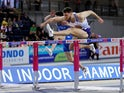 Great Britain's Andy Pozzi in action during the 60m hurdles men qualifying heats on March 3, 2019