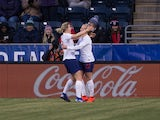 England forward Beth Mead (22) celebrates her goal with forward Ellen White (18) during the second half of a She Believes Cup women's soccer match against the Brazil at Talen Energy Stadium on February 27, 2019