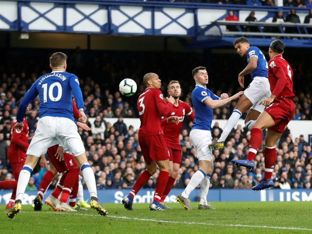 Dominic Calvert-Lewin gets a header on target during the Merseyside derby clash between Everton and Liverpool on March 3, 2019