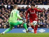 Liverpool forward Mohamed Salah is denied by Everton goalkeeper Jordan Pickford in the sides' goalless draw on March 3, 2019