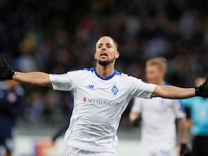 Fran Sol celebrates scoring for Dynamo Kiev in the Europa League on February 21, 2019
