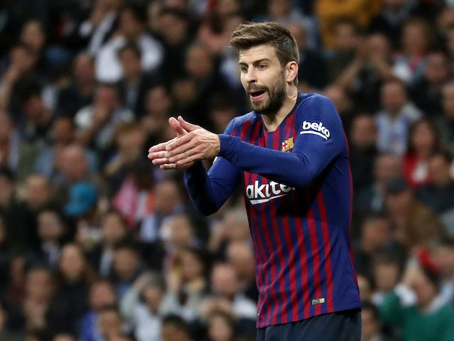 Gerard Pique in action for Barcelona on February 27, 2019