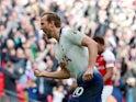 Tottenham Hotspur striker Harry Kane celebrates scoring against Arsenal on March 2, 2019