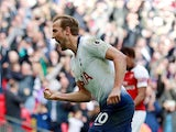 Tottenham Hotspur striker Harry Kane celebrates scoring against Arsenal on March 2, 2019