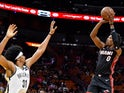 Brooklyn Nets center Jarrett Allen (31) guards Miami Heat guard Josh Richardson (0) during the first half at American Airlines Arena on March 3, 2019