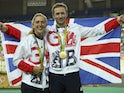 Jason Kenny and Laura Kenny celebrate winning gold at the Rio Olympics in 2016