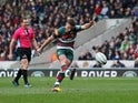 Leicester Tigers' Joe Ford kicks a penalty against Wasps on March 2, 2019