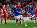 Rangers' Joe Worrall celebrates scoring their first goal  against Aberdeen on March 3, 2019