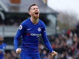 Jorginho celebrates putting Chelsea back ahead at Fulham on March 3, 2019