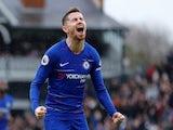 Jorginho celebrates putting Chelsea back ahead at Fulham on March 3, 2019