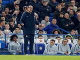 Chelsea head coach Maurizio Sarri on the touchline against Tottenham Hotspur in the Premier League on February 27, 2019.
