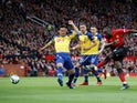 Manchester United's Romelu Lukaku gets a shot away against Southampton in the Premier League on March 2, 2019.